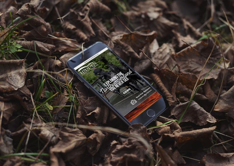 Hidden Northumberland Website displayed on mobile phone