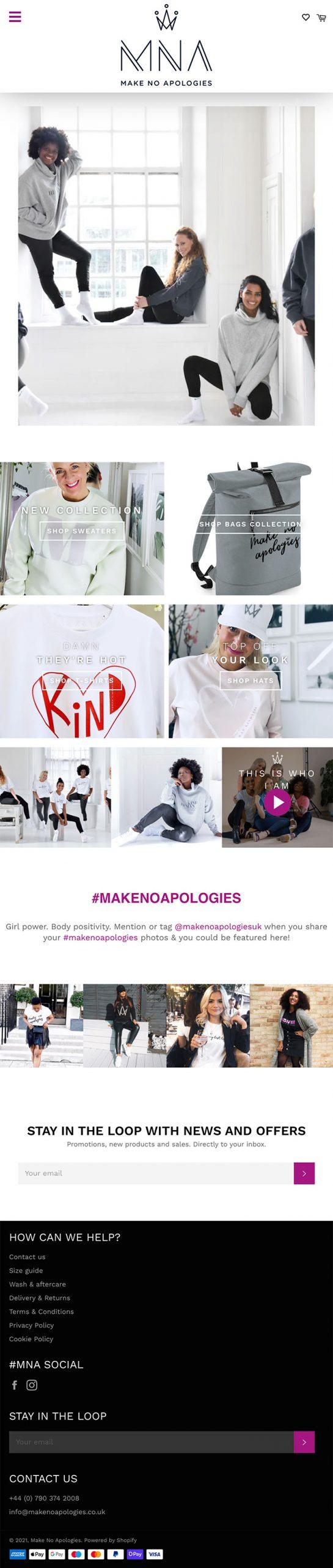 Make No Apologies Website (Tablet)