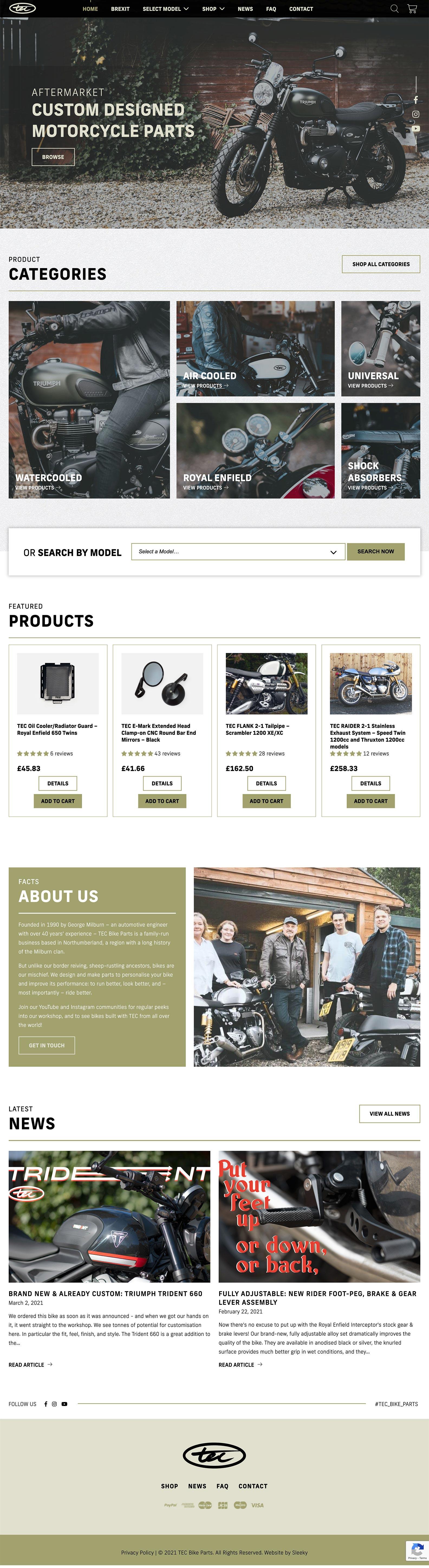 Desktop view of bike tech company's website