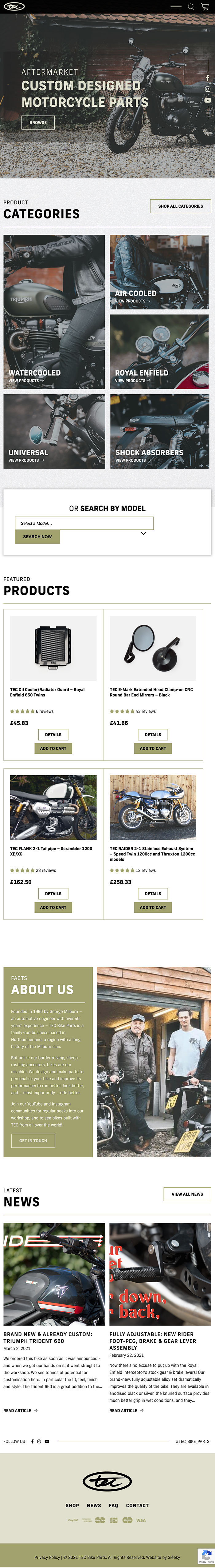 Tablet view of bike tech company's website