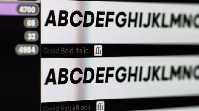 Different fonts displayed on a screen