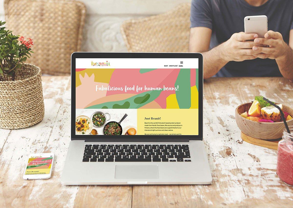 Bean It website homepage displayed on laptop screen