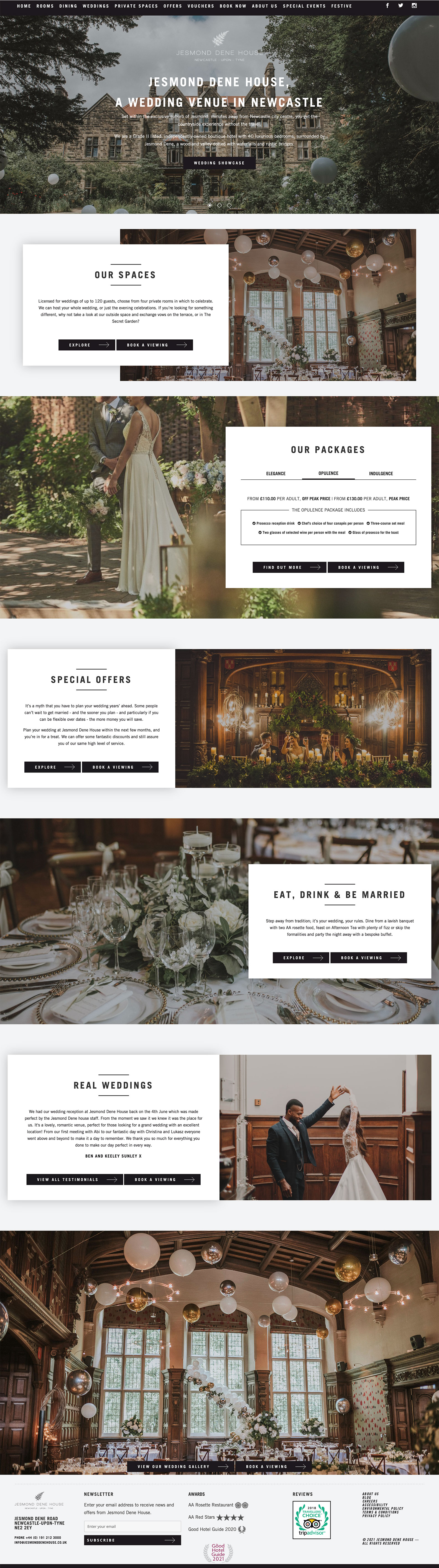 Desktop view of Jesmond Dene House website