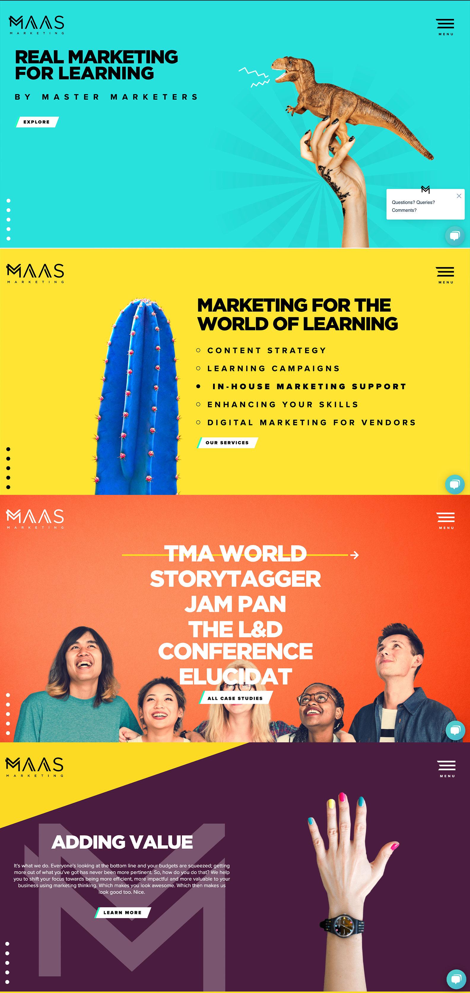 Desktop view of MAAS Marketing's website