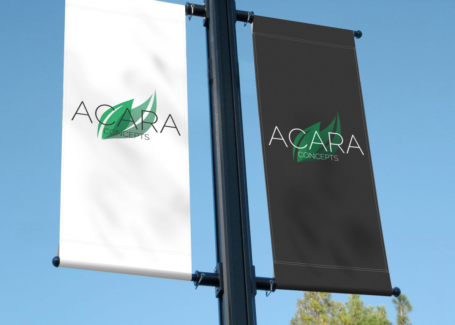 Acara Concepts logo displayed on outdoor banners