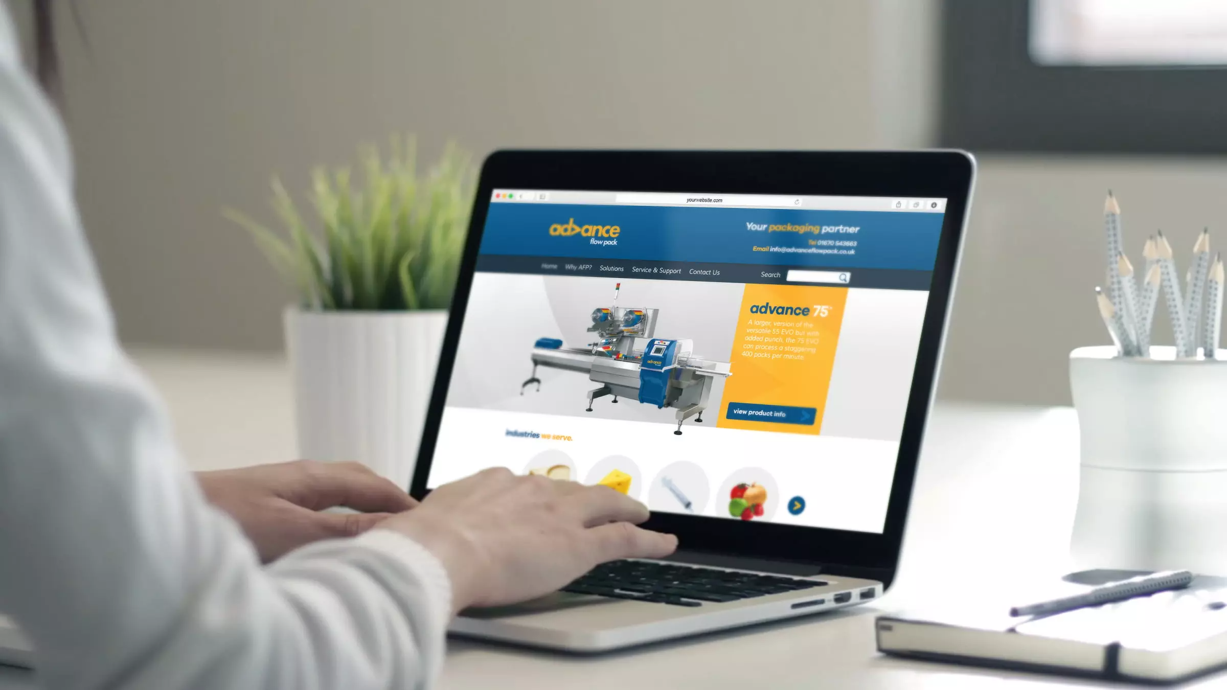 Advance Flow Pack website being viewed by a person on a laptop