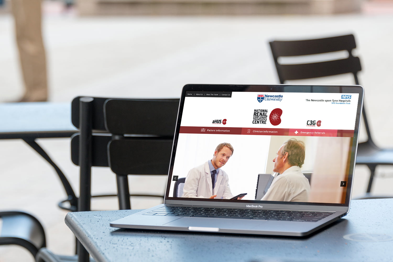 Atypical HUS website displayed on laptop