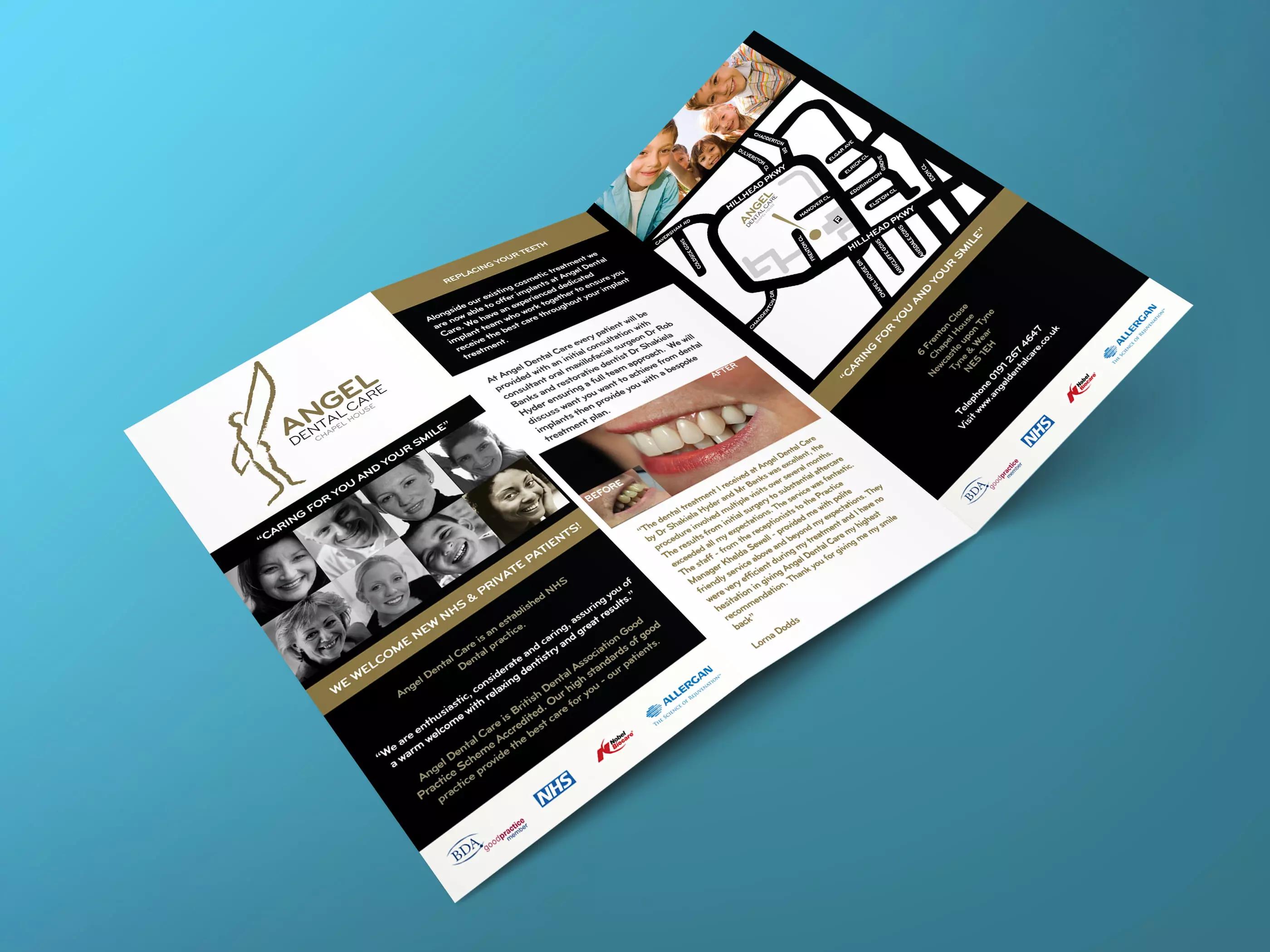 Angel Dental Tri-fold leaflet design