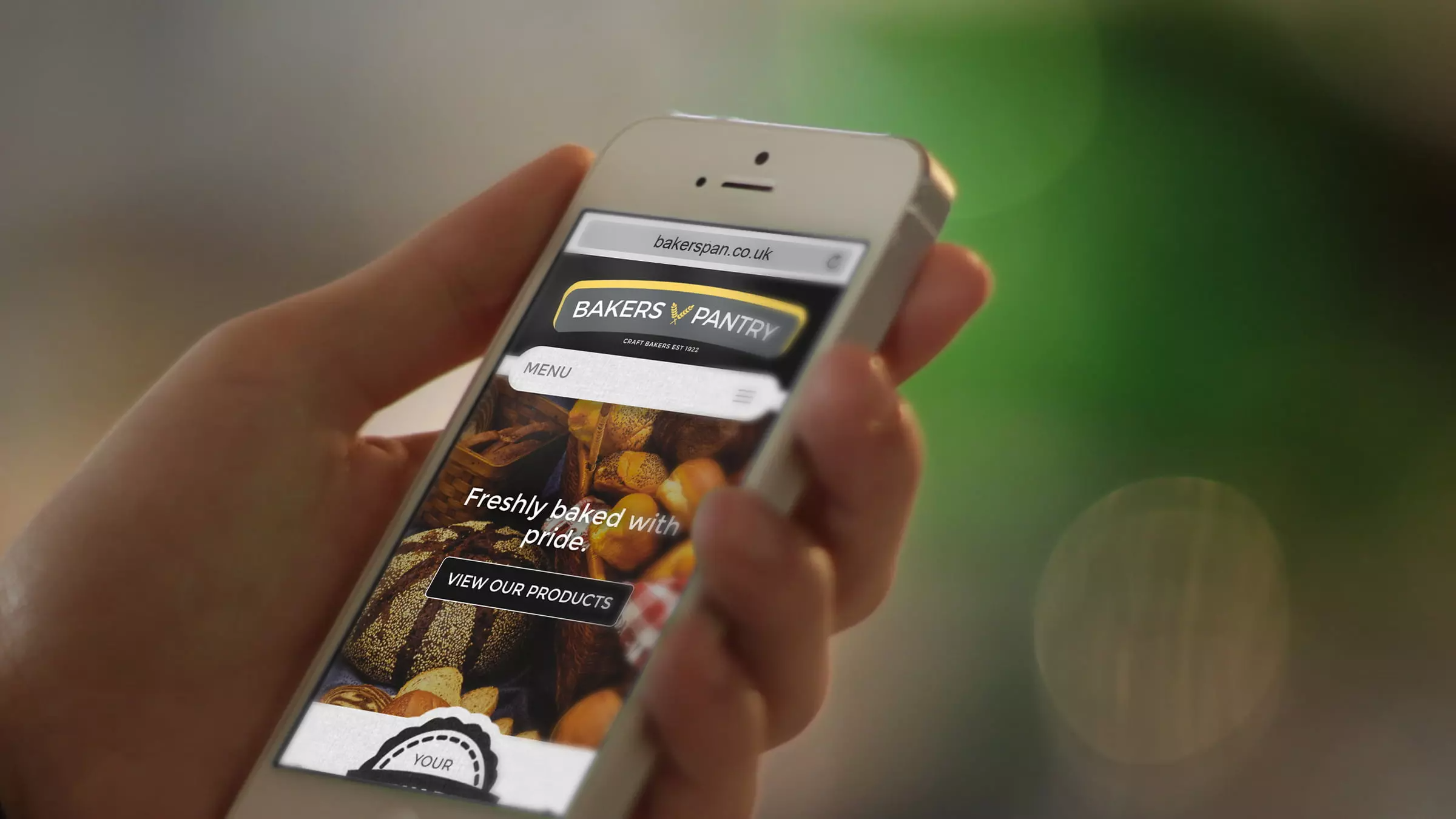 Bakers Pantry website being viewed on mobile device