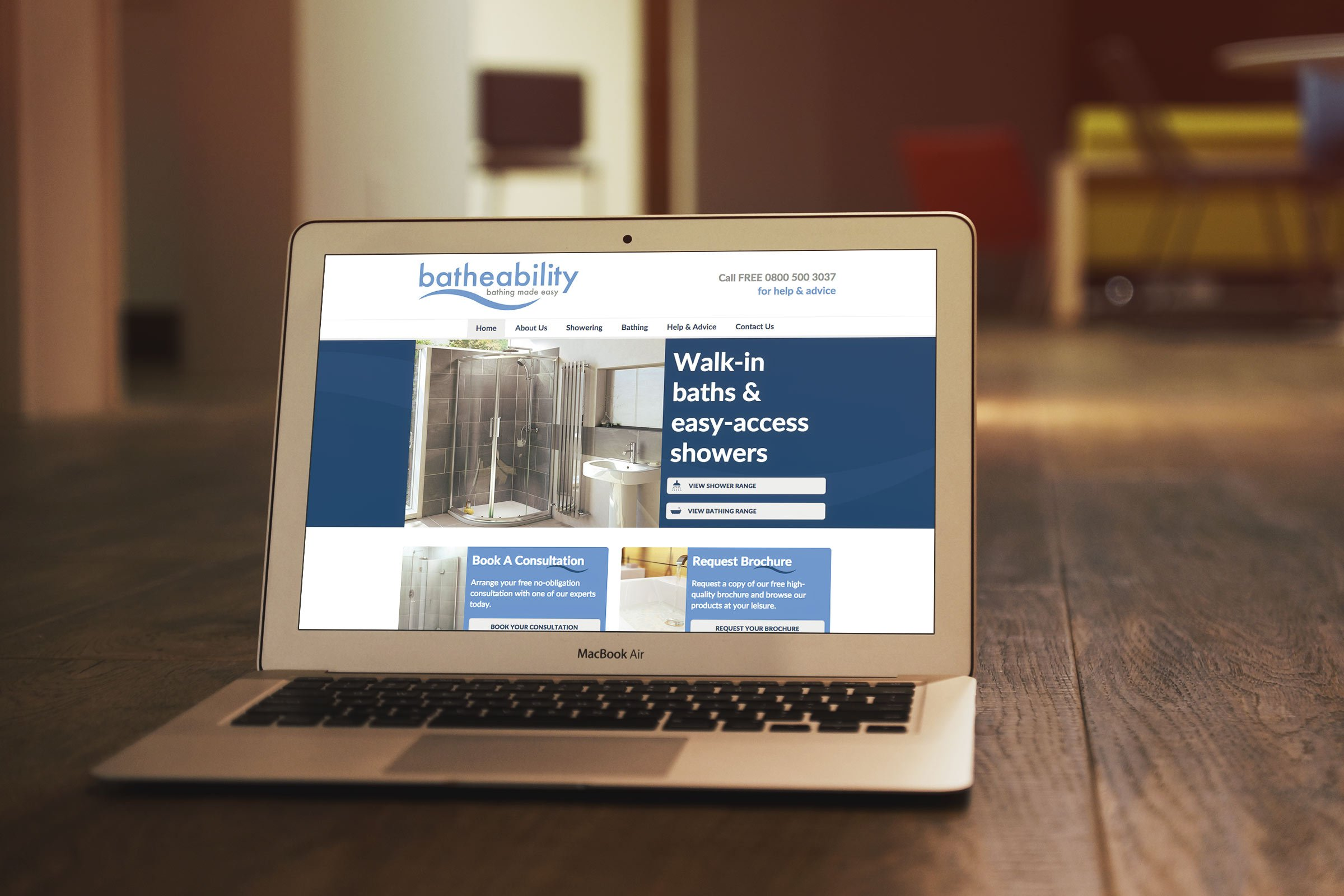 Batheability website displayed on laptop