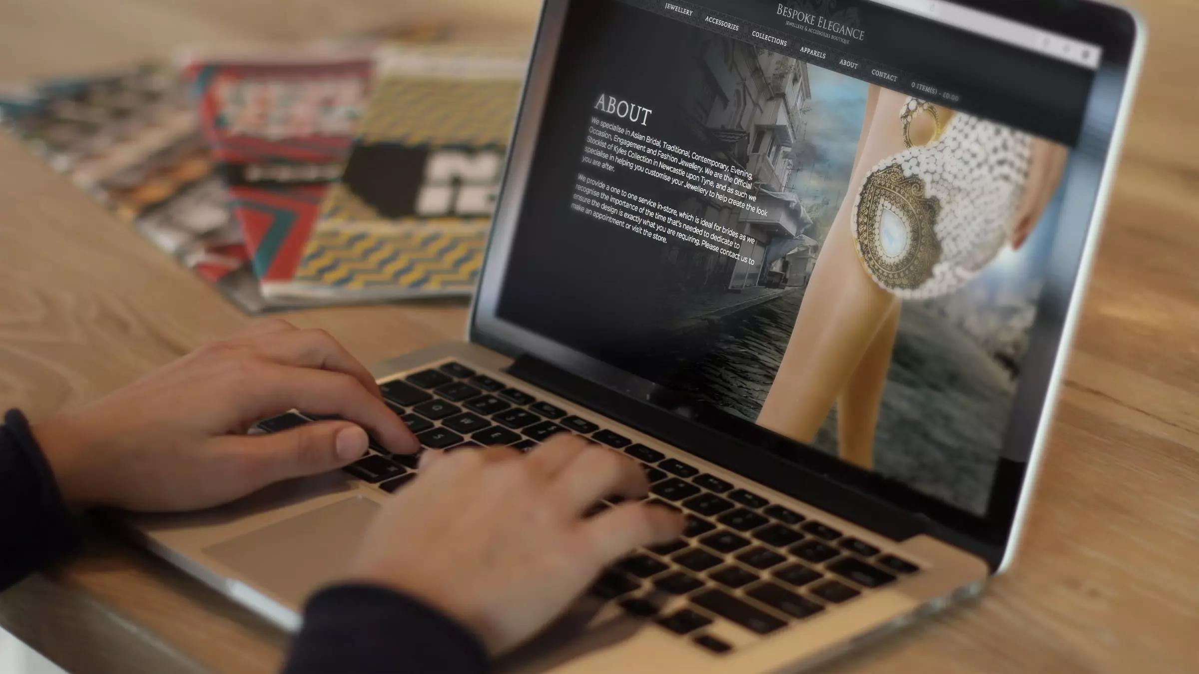 Bespoke Elegance website displayed on a laptop