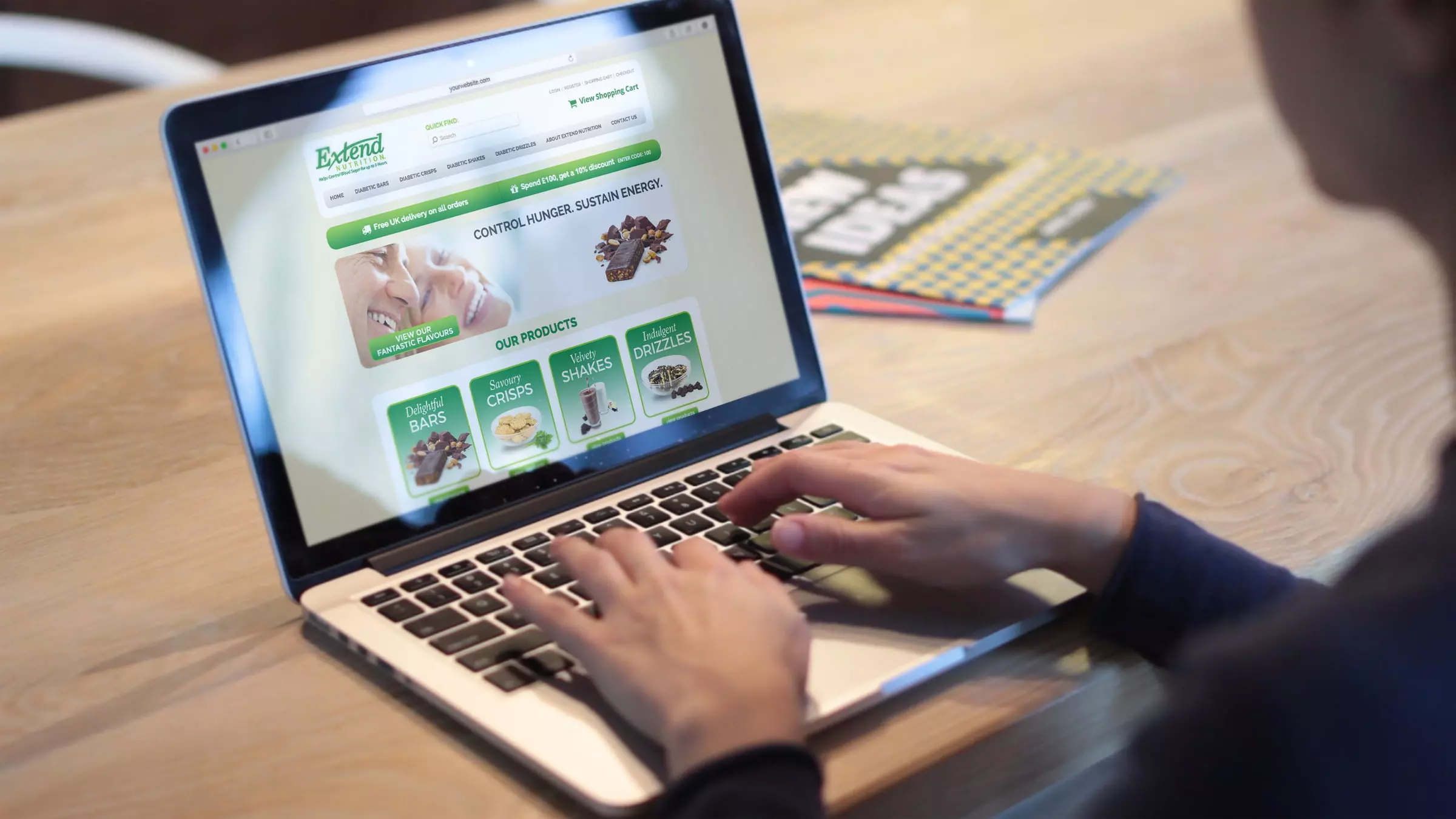 Diabetic Snacks website being viewed by person on a laptop