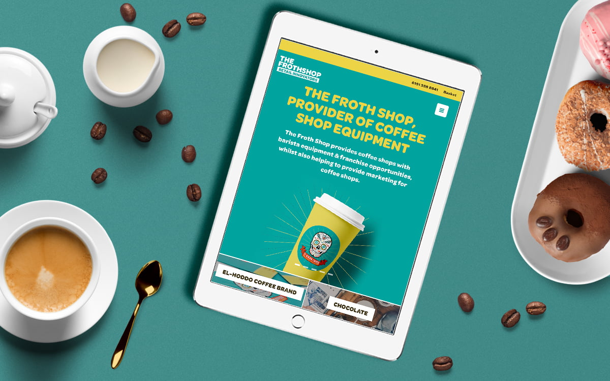 The Froth Shop website displayed on tablet device