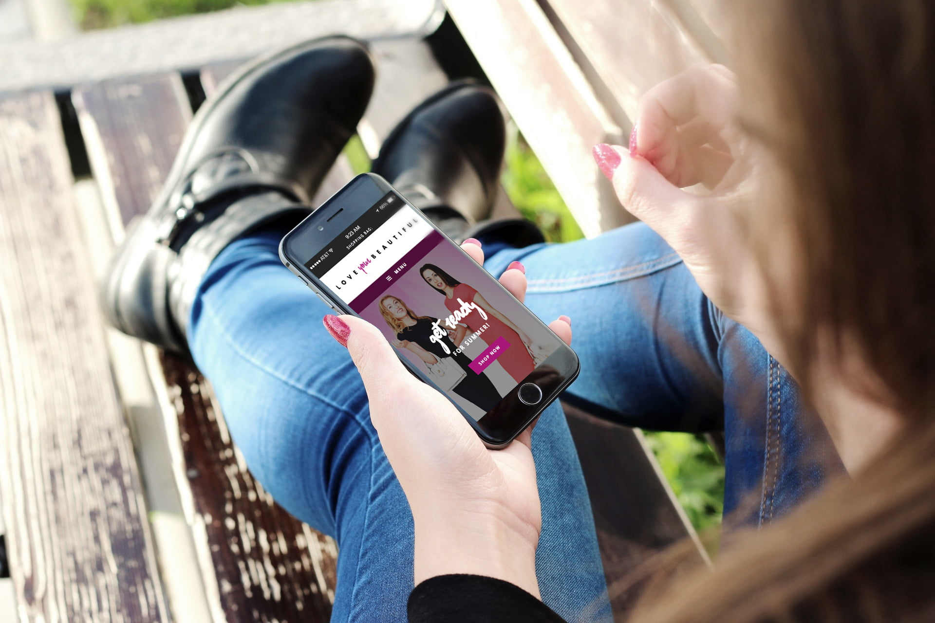 Love Your Beautiful website being viewed by girl on mobile