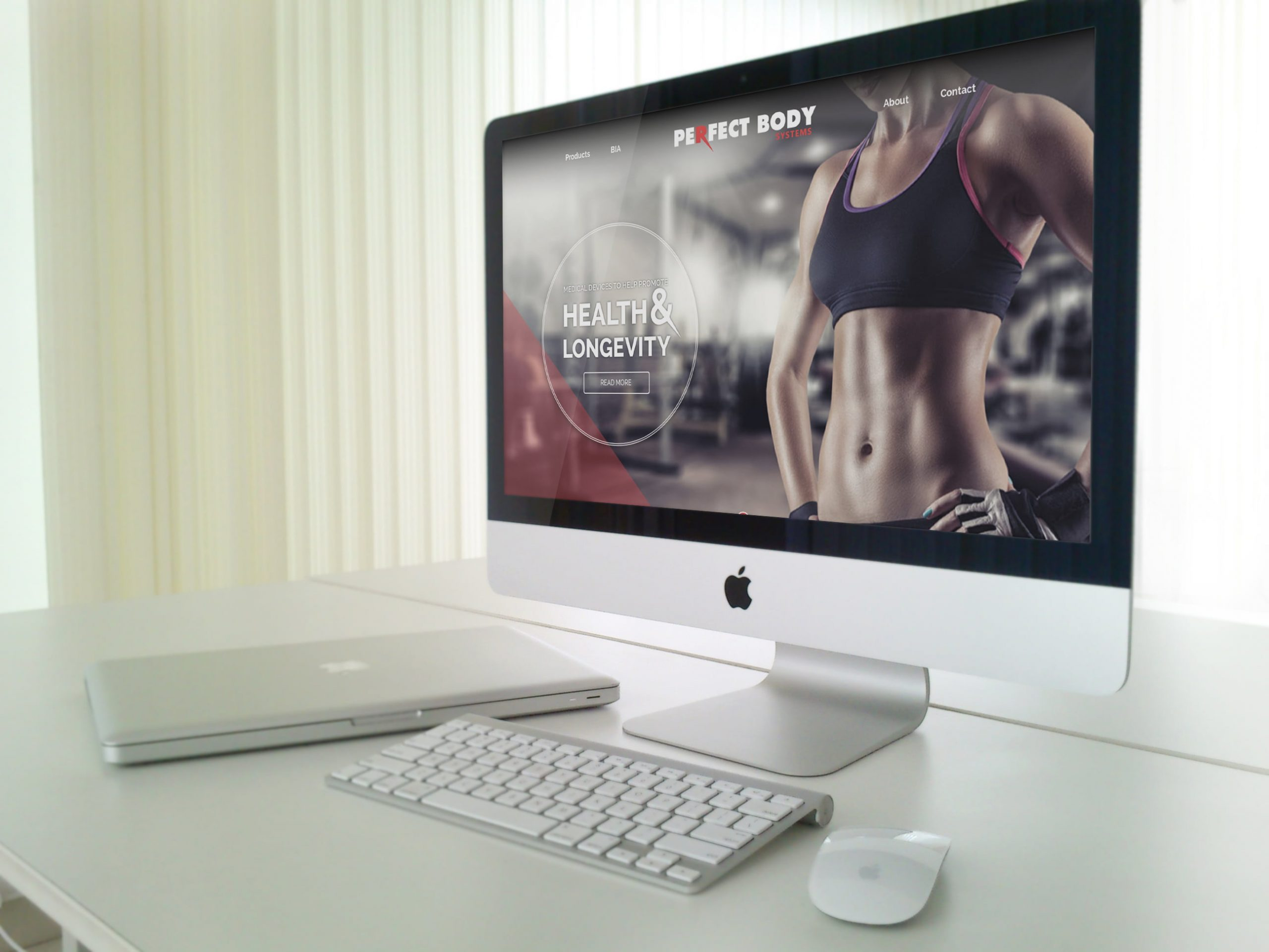 Perfect Body website displayed on Mac desktop