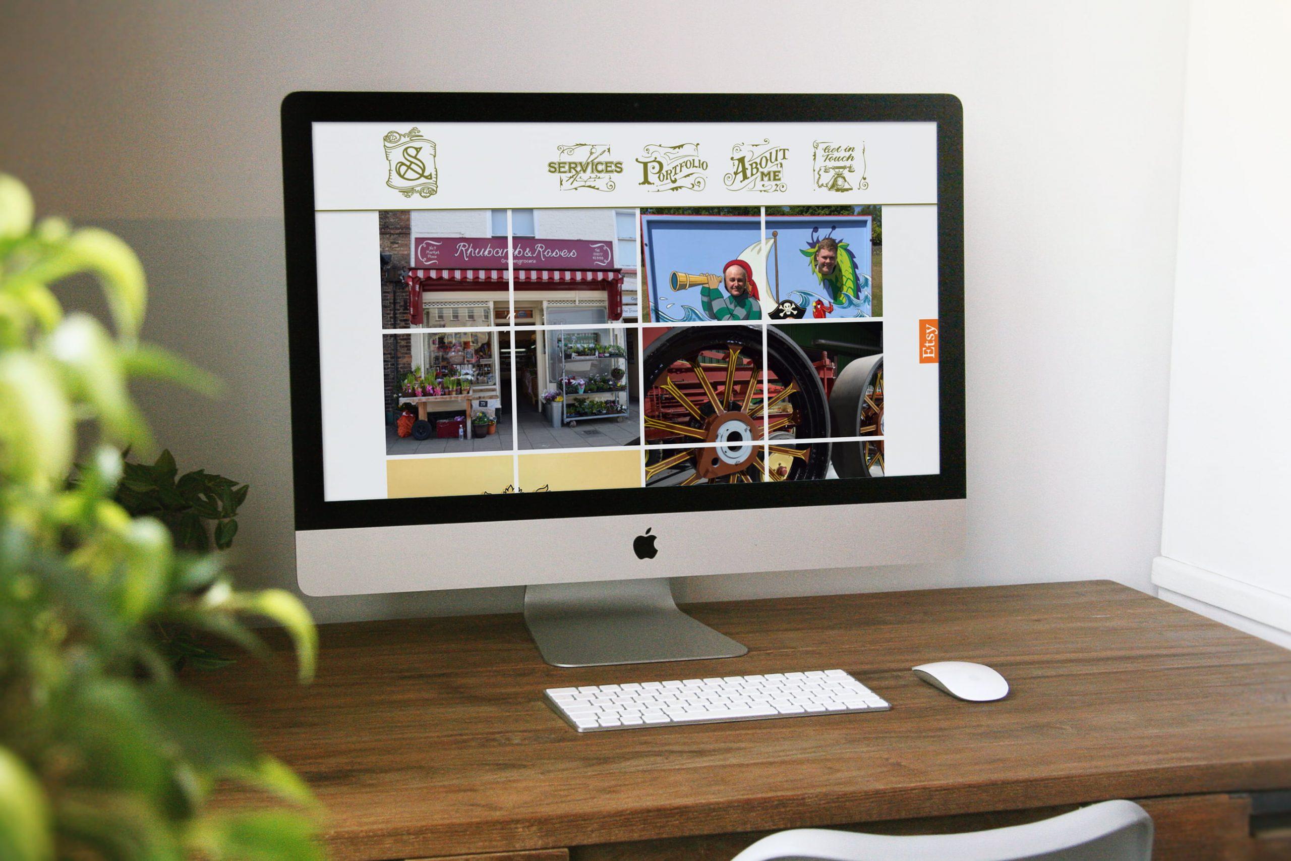Sarah Jarman website displayed on Mac desktop computer