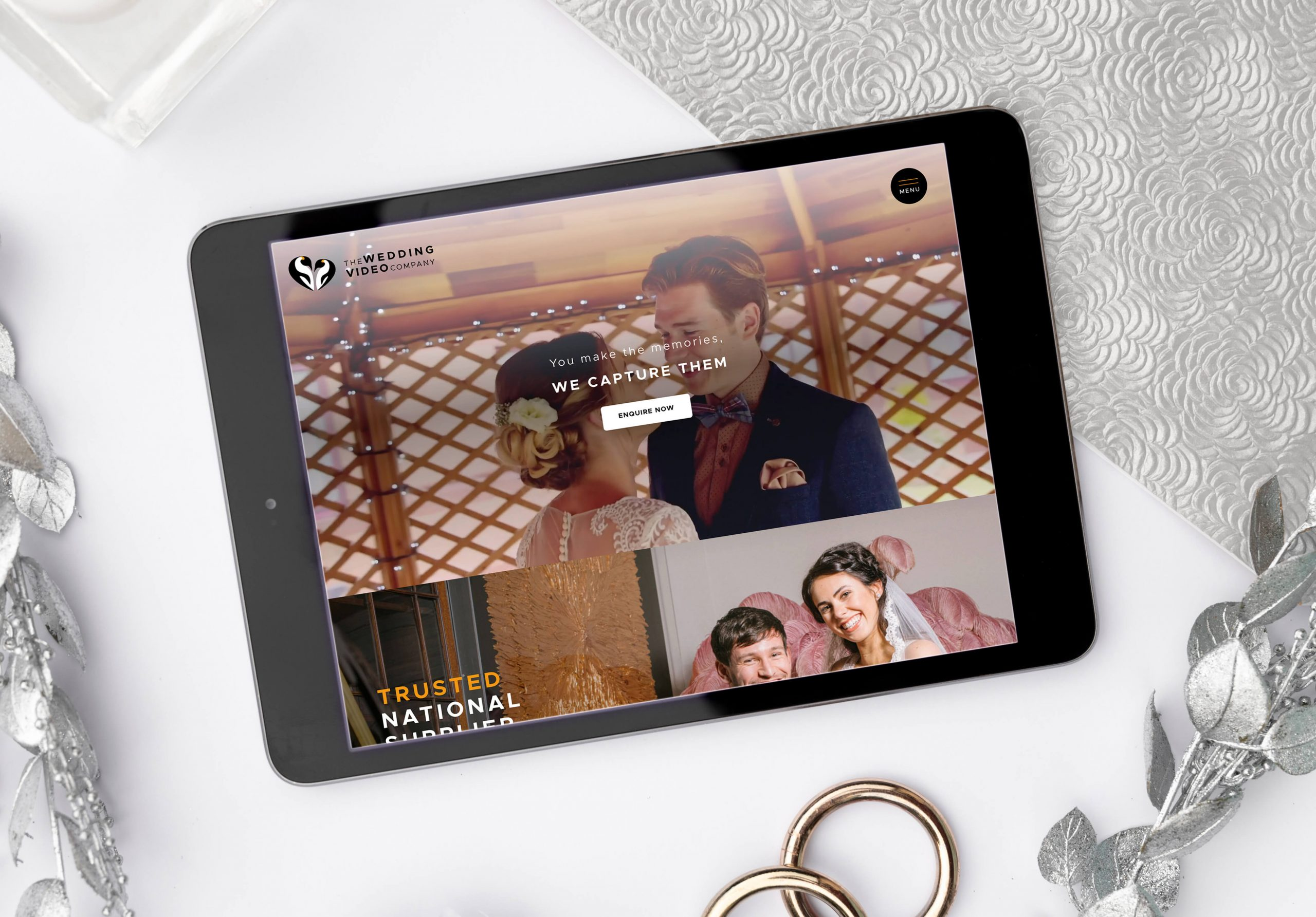 The Wedding Video Company website displayed on tablet device screen