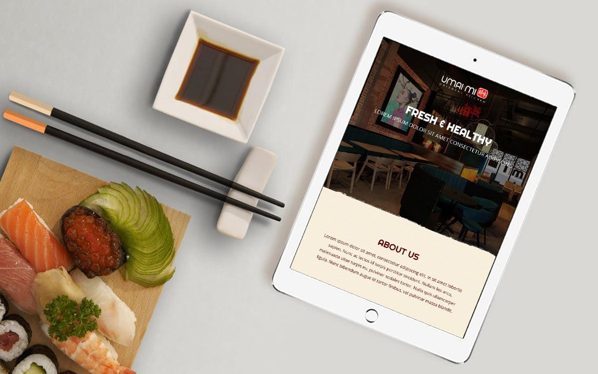 Umai Mi website displayed on tablet device