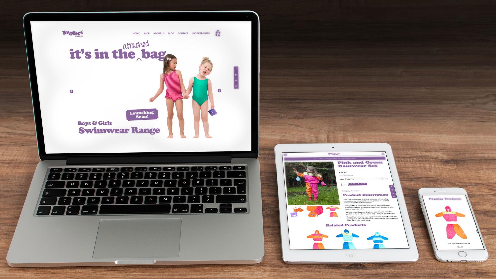 Baggers Originals website displayed on laptop, tablet and mobile