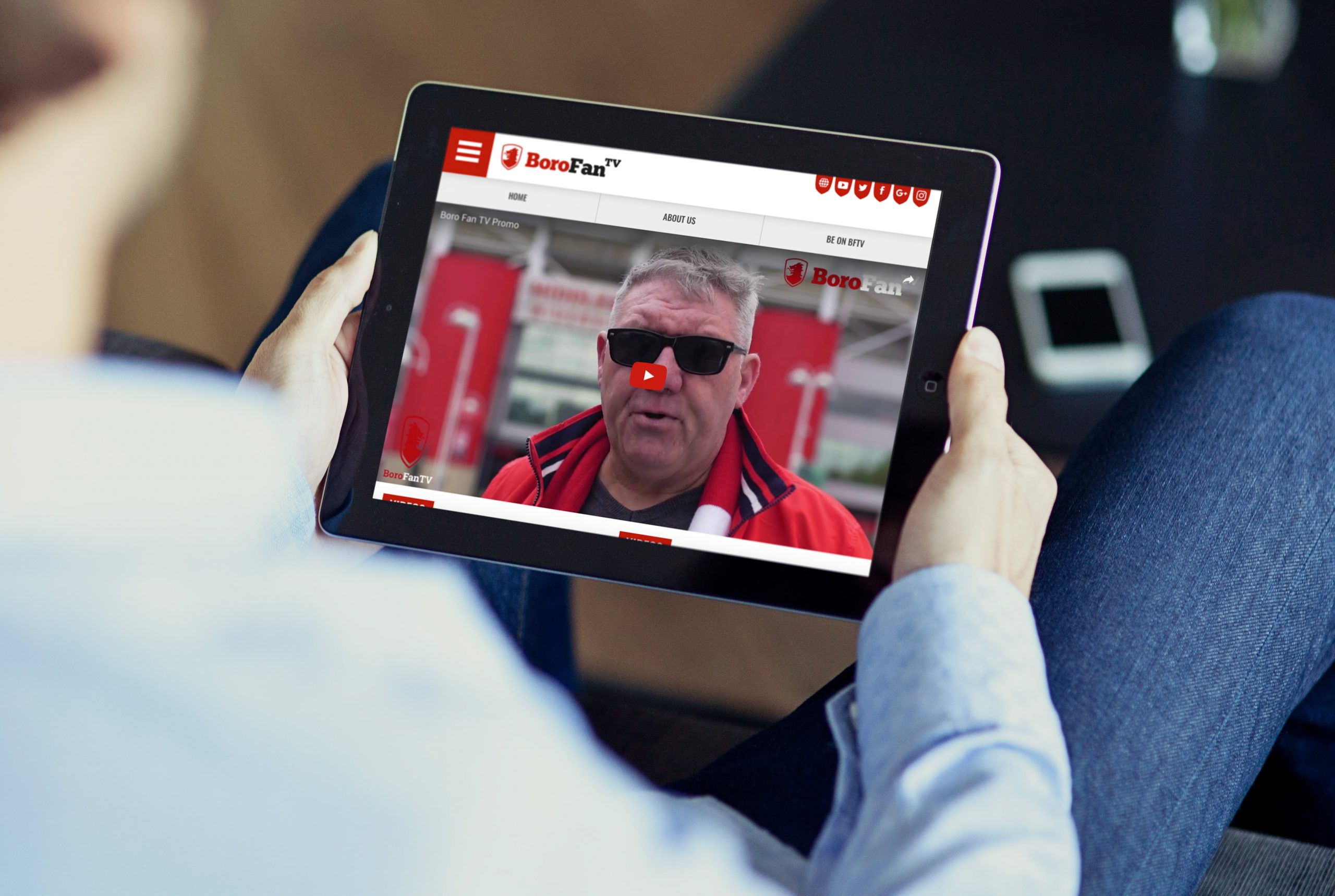 Boro Fan TV website being viewed by person on tablet device