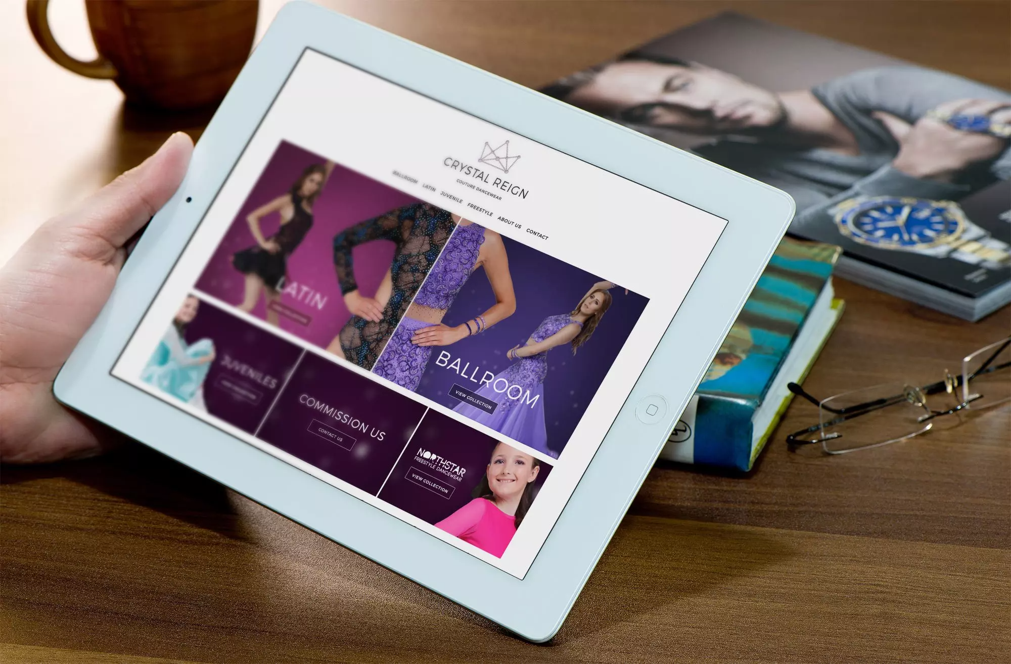 Crystal Reign Dancewear viewed on tablet device
