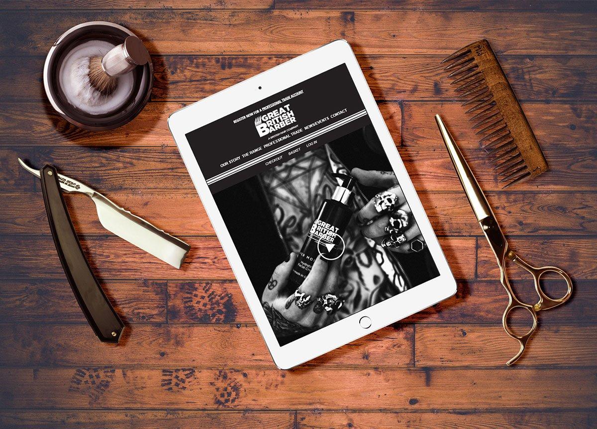 Great British Barber website displayed on tablet device