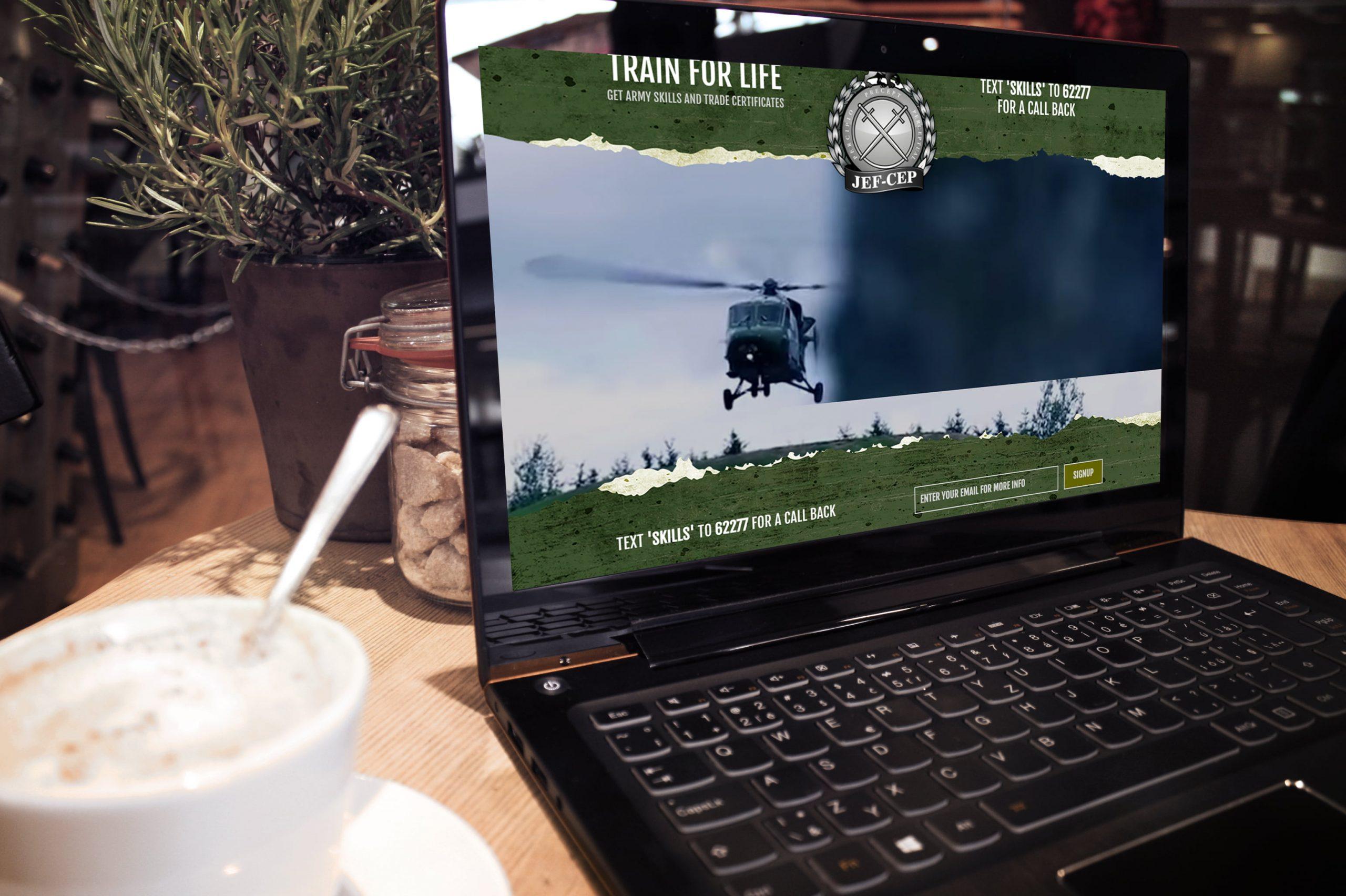 Jef-Cep website displayed on laptop