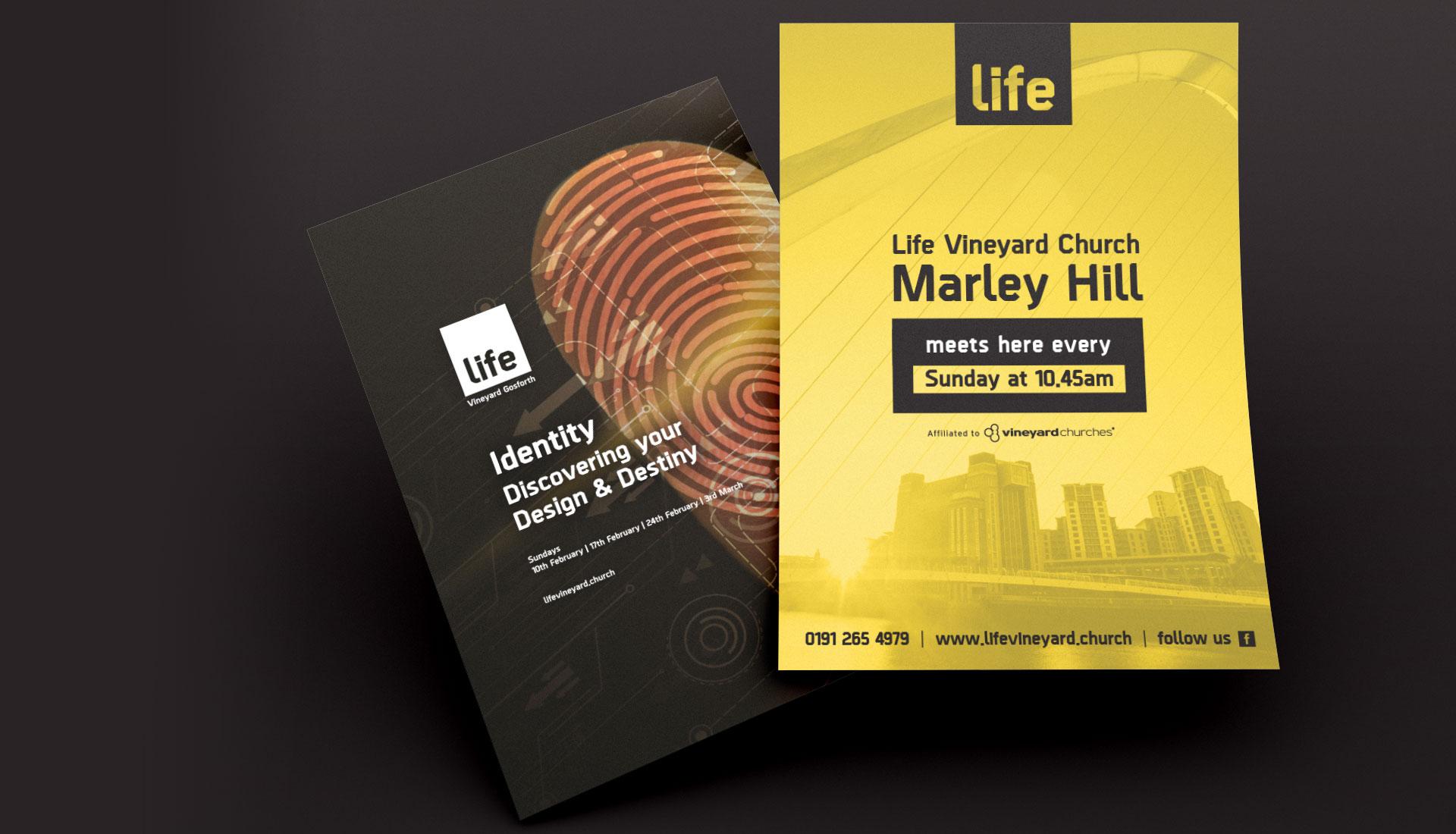 Life Vineyard Church leaflets designed by Sleeky