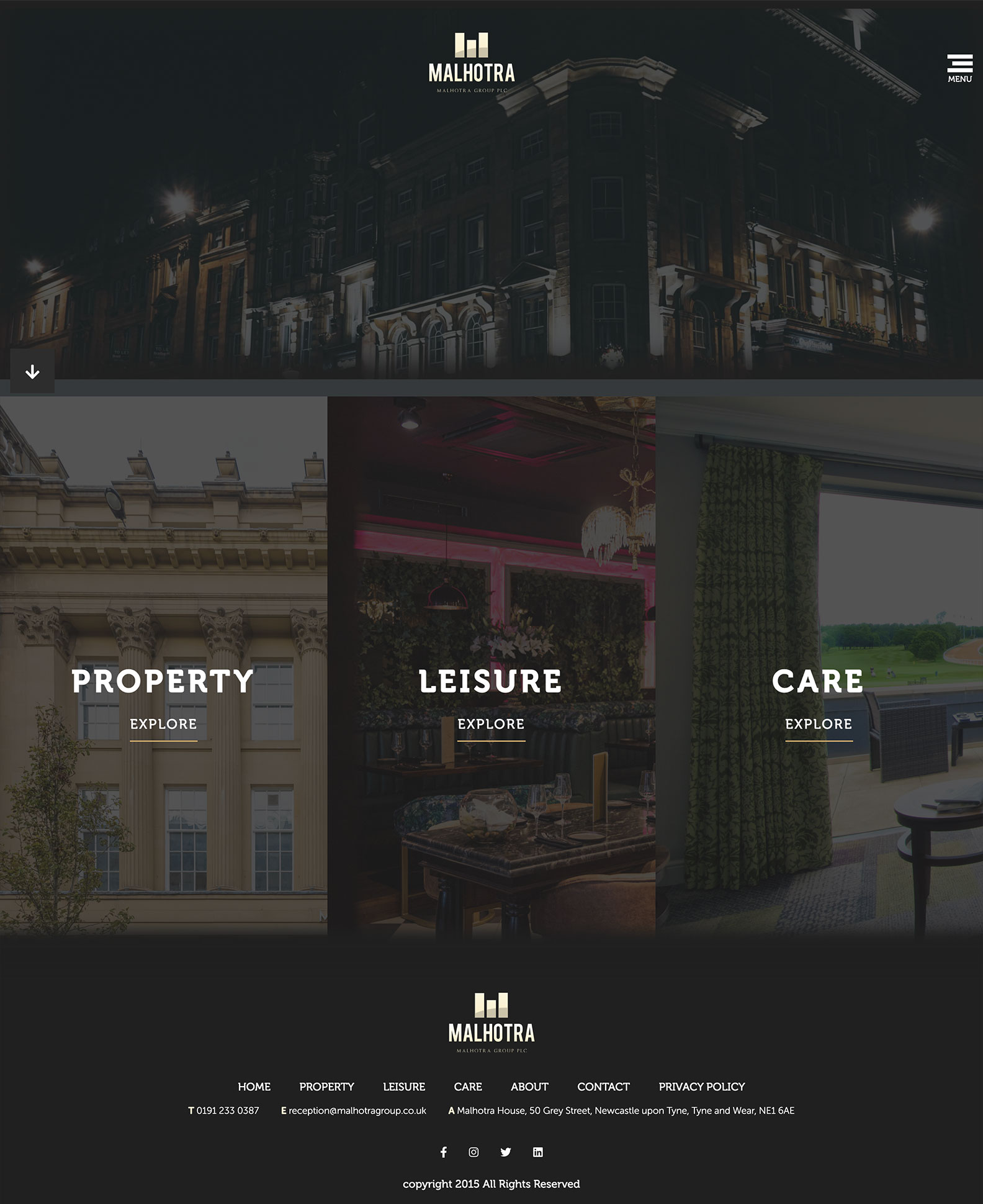 Desktop view of Malhotra Group's website
