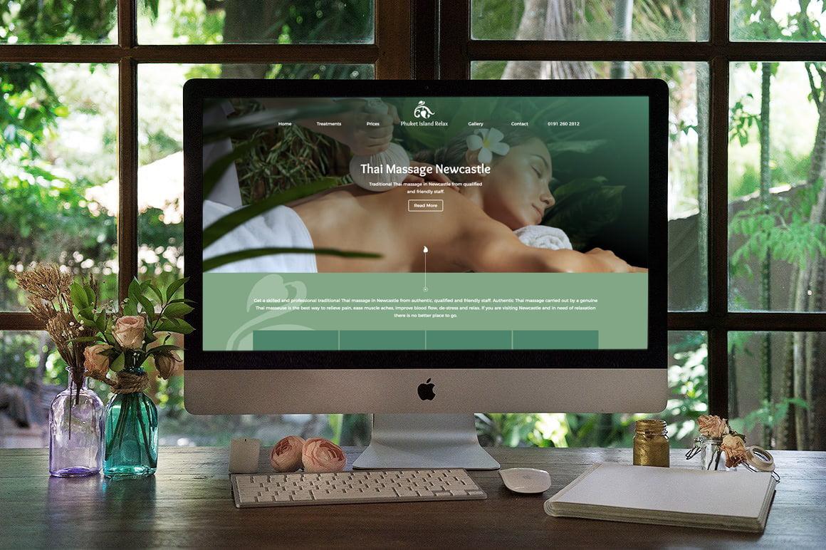 Thai Massage Newcastle website displayed on a desktop screen