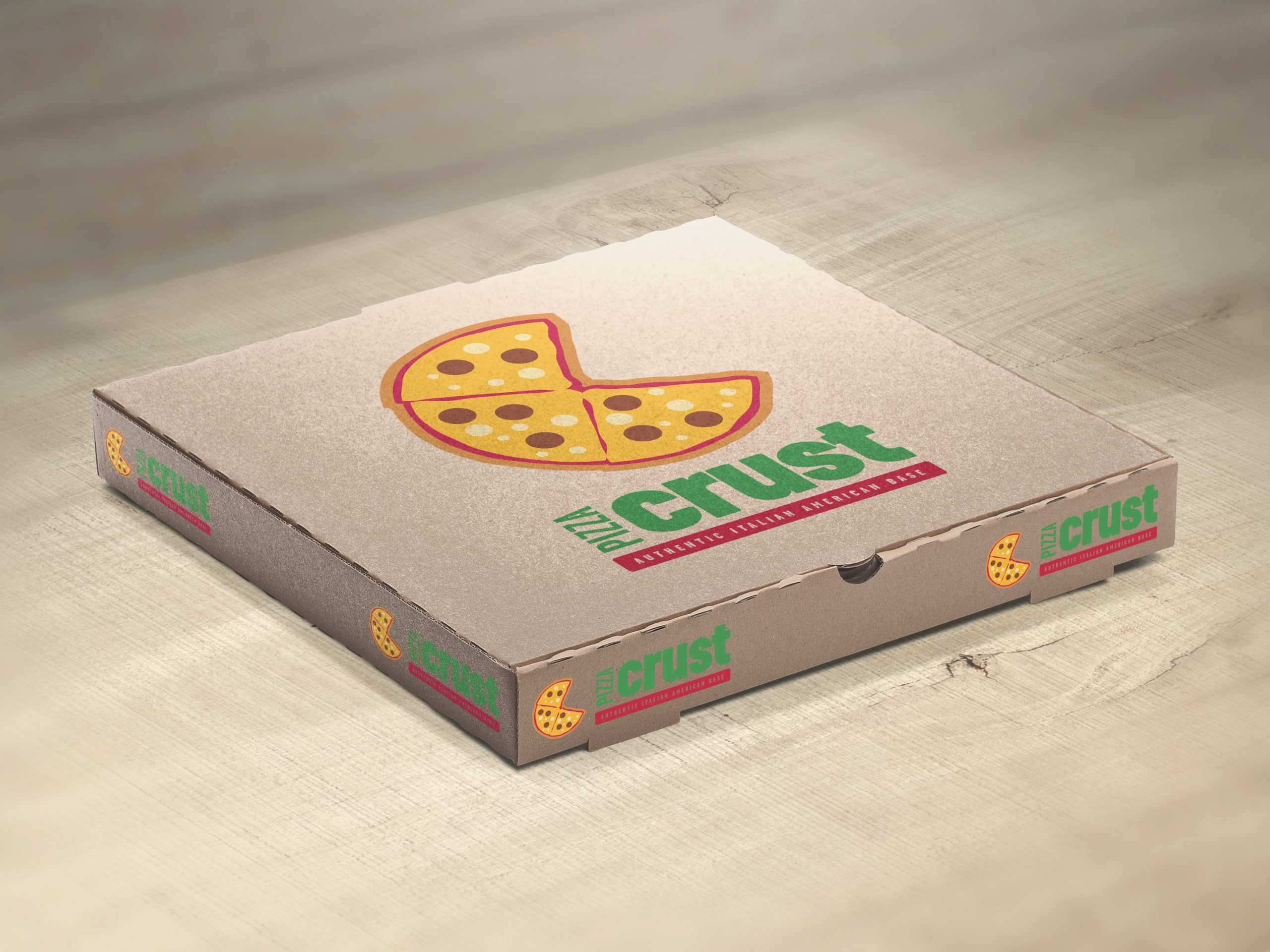 Pizza Crust company pizza box with graphic design on front by Sleeky