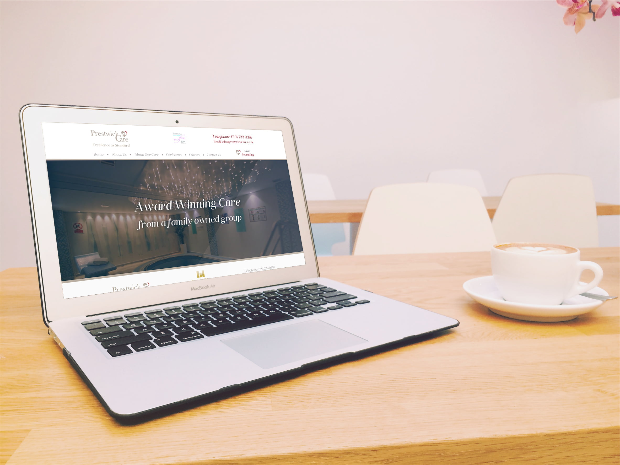 Prestwick Care website displayed on laptop