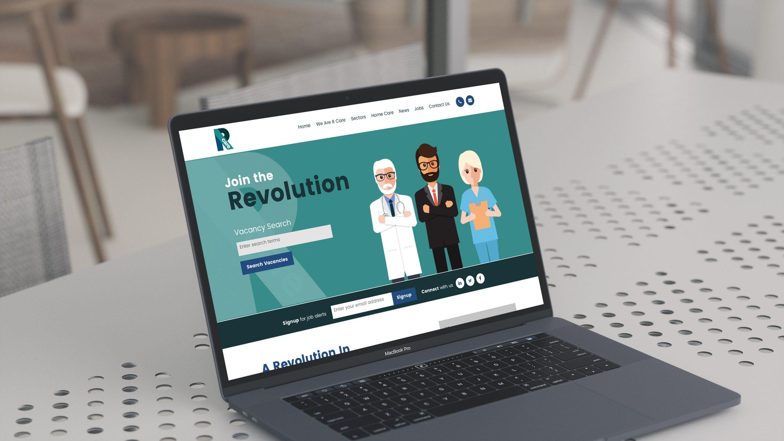 R Care website displayed on laptop