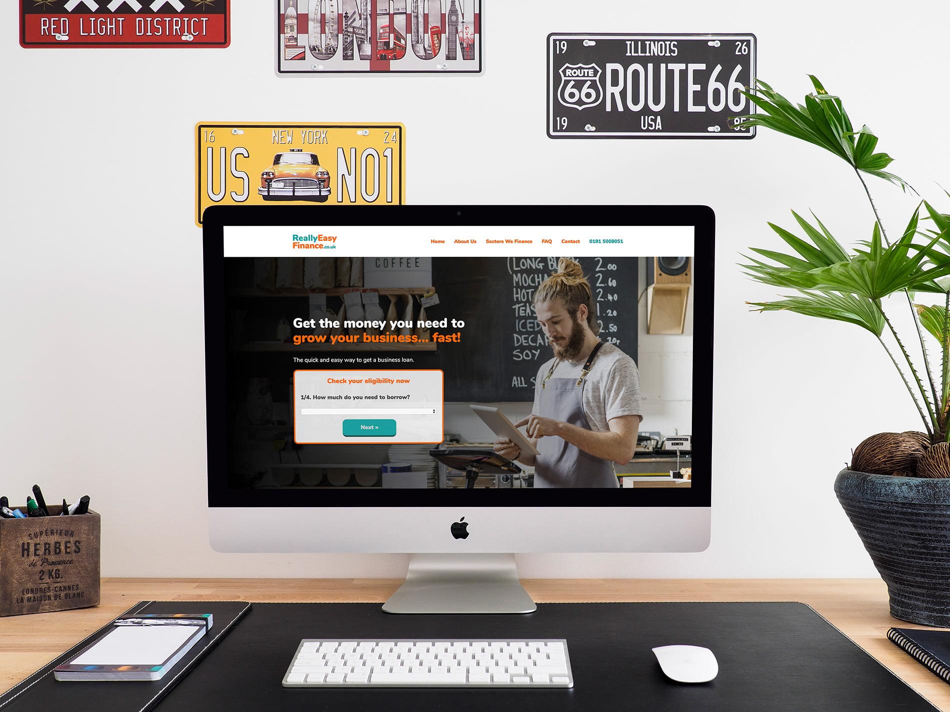 Really Easy Finance website displayed on a desktop computer
