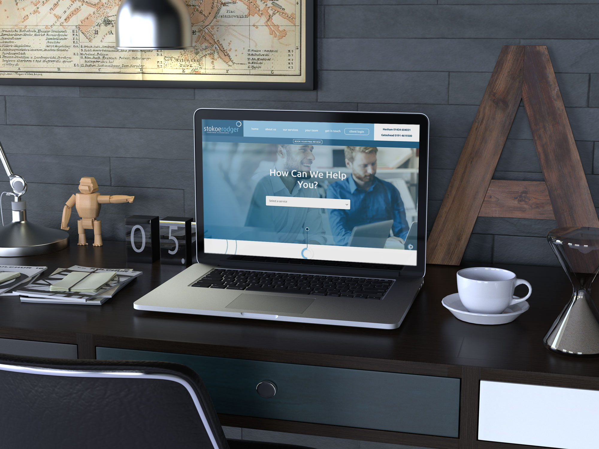 Stokoe Rodger website displayed on laptop computer