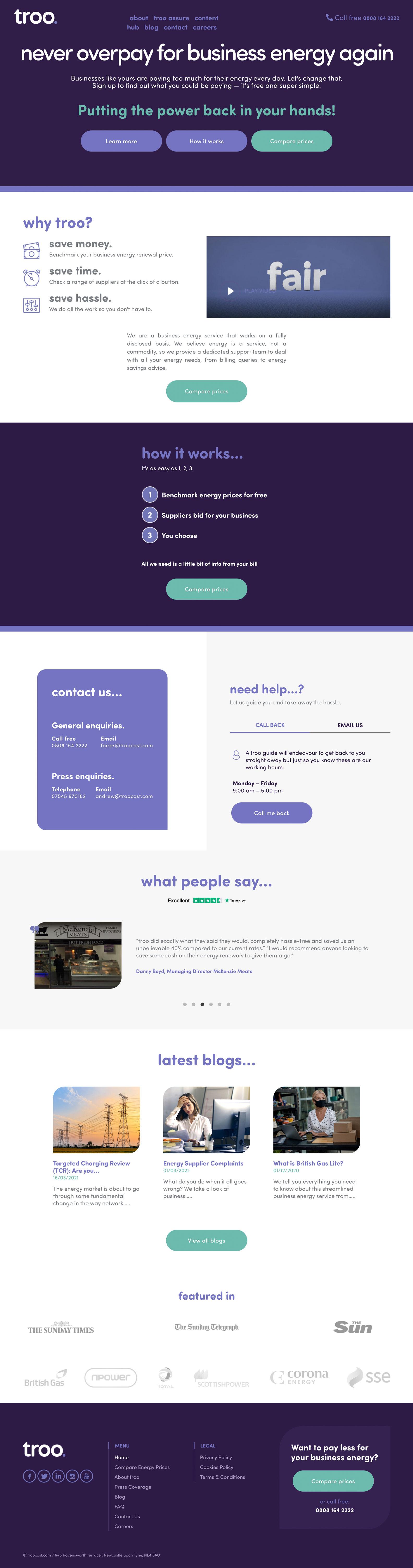 Desktop view of Troo website