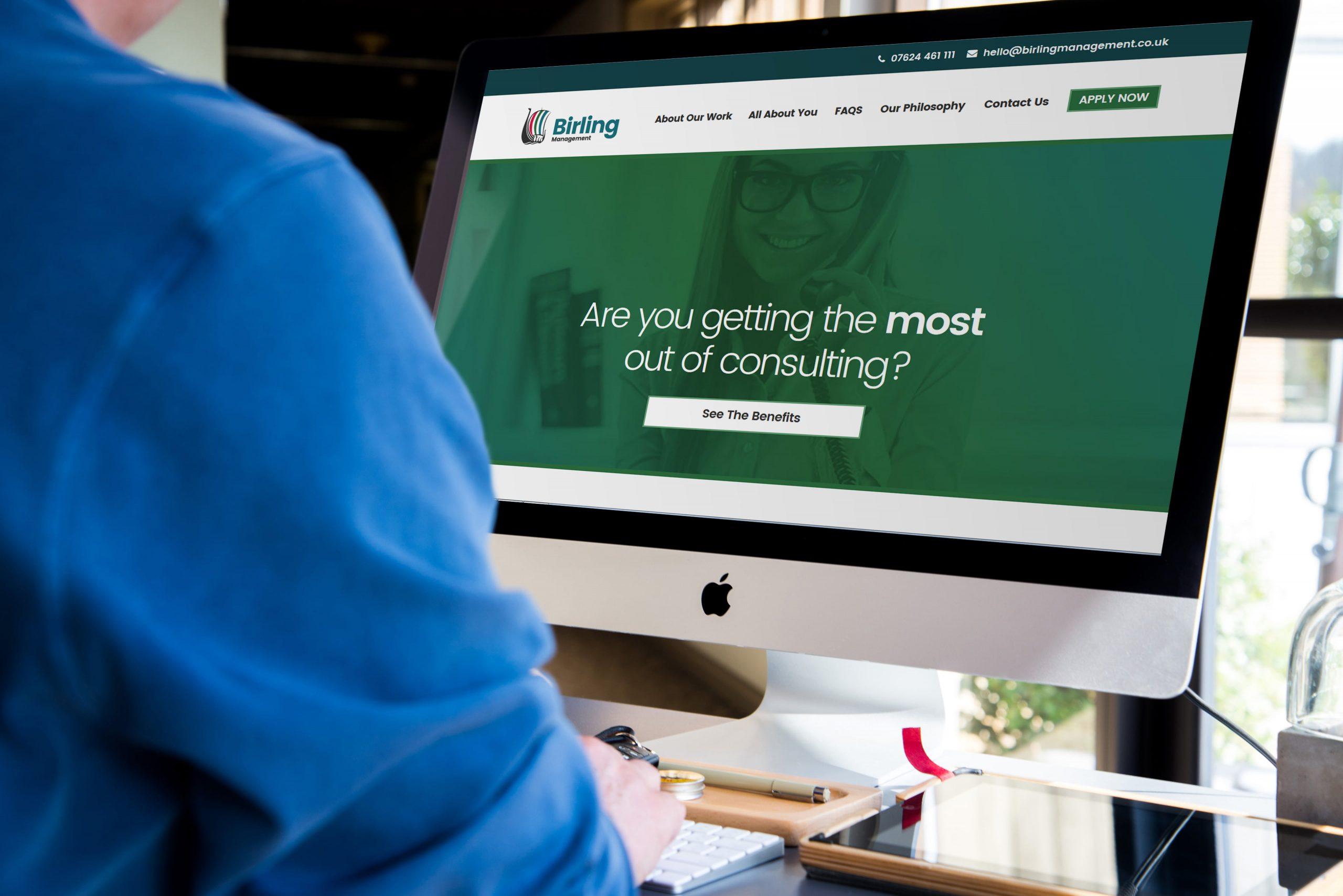 Birling Management website being viewed by person on Mac desktop computer