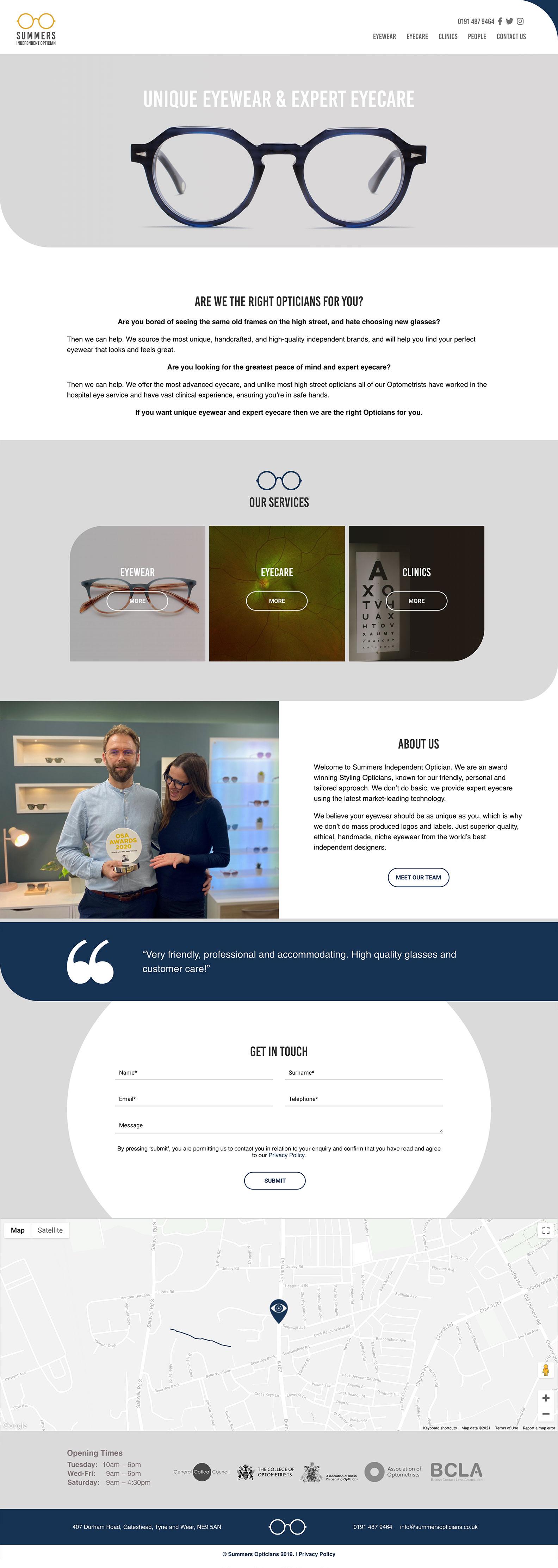 Summers Opticians Desktop
